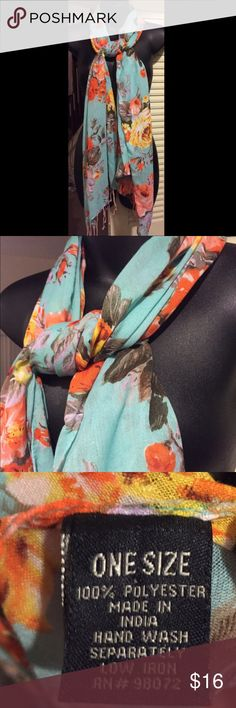 🆕 floral fringed scarf Super cute! Looks more green in person than it appears in photos. 100% polyester. 👺NO TRADES DONT ASK! ✌🏼️Transactions through posh only!  😻 friendly home 💃🏼 if you ask a question about an item, please be ready to purchase (serious buyers only) ❤️Color may vary in person! 💗⭐️Bundles of 5+ LISTINGS are 5️⃣0️⃣% off! ⭐️buyer pays extra shipping if likely to be over 5 lbs 🙋thanks for looking! Accessories Scarves & Wraps