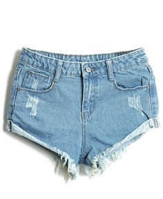 Light Blue Bleached Ripped Denim Shorts - Sheinside.com