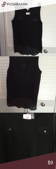 High-low black tank top With 2 pockets / lace back Tops Tank Tops