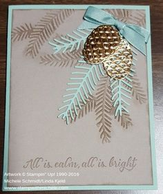 This is probably my favorite Christmas card made with all the new products from the Stampin' Up! Holiday catalog. I saw a card on Pinterest that used the Holly embossing folder like I used the Pine Bough folder on this...