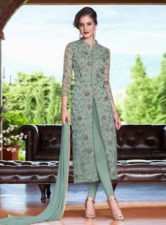 Kurti designs party wear - Buy Dusty Green Net Cigarette Pant Suit With Dori Work Online – Kurti designs party wear Pakistani Dress Design, Pakistani Dresses, Indian Dresses, Indian Outfits, Indian Designer Outfits, Designer Dresses, Fashion Pants, Fashion Dresses, Suit Fashion