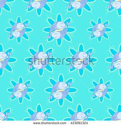 Pattern from fish. Vector seamless pattern of hand-drawing fish.