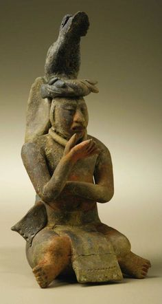 Seated Figure with Deer Headdress Maya, Jaina A. 550 - 900 Ceramic, traces of paint Height 7 in. Width 3 - Available at 2006 September Pre-Columbian. Pottery Sculpture, Pottery Art, Sculpture Art, Maya Civilization, Inka, Ancient Artifacts, American Art, Art History, Massage Chair