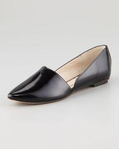 Elizabeth and James Box Leather d'Orsay Flat, Black