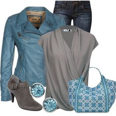 """Aquamarine & Gray"" by ljjenness on Polyvore"
