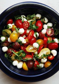 a quick and easy tomato basil mozzerella salad recipe perfect for summer and serving guests.