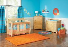 Wood crib bedding and rectangle baby nursery large-size interesting boy nursery design showing blue wall paint themes also natural Red Nursery, Boy Nursery Colors, Boy Nursery Themes, Baby Nursery Neutral, Nursery Design, Nursery Room, Nursery Ideas, Church Nursery, Nursery Decor