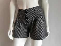 Vintage Women's 90's Checkered Shorts, Black, Gray, Low Rise (S) by Freshandswanky on Etsy