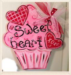 Valentine door hanger valentine by Furnitureflipalabama on Etsy, $35.00