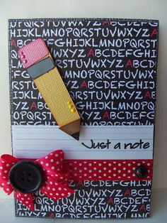 Can you believe today is our first day of school! Sorry if I have been missing in action. My girls are starting two separate schools this. Teacher Appreciation Cards, Teacher Cards, Teachers Day Gifts, Teacher Gifts, Wrapping Gift, Cricut Cards, Birthday Cards For Men, School Themes, Fall Cards