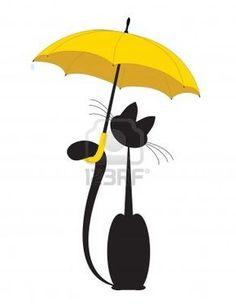 Cat in umbrella