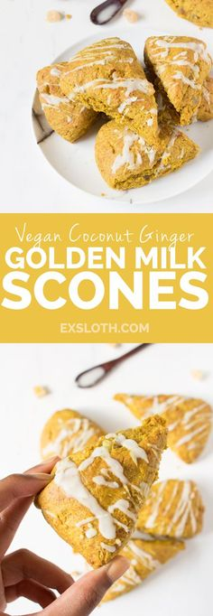 Vegan Coconut Ginger Golden Milk Scones (made with turmeric and spelt flour) via /ExSloth/ |…