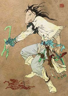 Ma Mian 马面 - Horse Face, working in the hell; Known as the partner of Ox Head. Chinese believed that after people passed away for 7 days, Ox-head and Horse-face will bring back the lost soul for last visit. Noise of Keys and Chained will be heard at mid-night