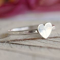 Silver heart ring by Lovestrucksoul on Etsy Jewelry Box, Jewelery, Jewelry Accessories, Silver Stacking Rings, Silver Rings, Diamond Jewelry, Silver Jewelry, Love Ring, Sterling Silver