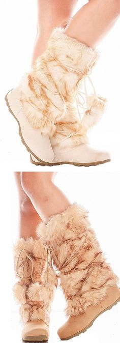 These are cozy and cute faux fur boots, and they feel like Heaven when you slip them on your feet. They are a perfect fit for that Snow Bunny Look! ;-) Only the best prices at Lollicouture.com!