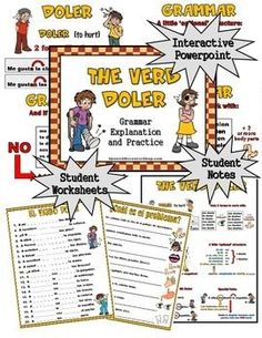 The Doler value pack includes everything you need to teach the Spanish verb Doler!  Start with the instructional grammar powerpoint and use the corresponding worksheets to allow your students to practice in a written format.  Next, use the oral practice powerpoint to really reinforce the concept with 44 slides allowing for students to verbalize what they have just learned.Included in this Value Pack (66 pages/slides total):Instructional Powerpoint:  This colorful, interactive powerpoint…