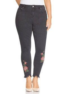 Plus Size - Sara Rose Embroidered Skinny Jean