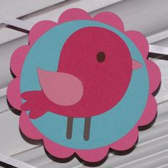 Little Pink Bird Happy Birthday Banner  Tweet by APaperPlayground, $24.50