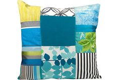 Blue & Green Patchwork Pillow II