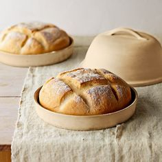 Baked bread in stoneware
