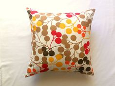 Brown Pillow Cover - White Linen with Brown Orange Mustard Yellow and Red Circles Print - Home Decor - 18x18 - Gift for Her - Ready to Ship on Etsy, $18.00