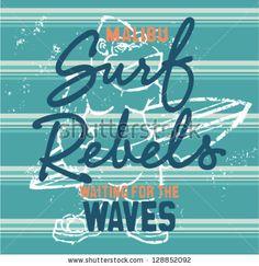 Surf rebels, grunge artwork for boy wear in custom colors by ZiaMary, via Shutterstock