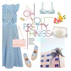 """#prettyunderpinnings"" by hellodollface ❤ liked on Polyvore featuring self-portrait, cloud island, Lucky Brand, Jack Rogers, Carine Gilson, Chanel and prettyunderpinnings"