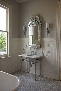 Venetian mirror in bathroom - so serene!