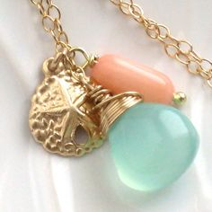 - Sand Dollar Charm, Chalcedony Briolette and Coral drop
