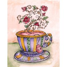 A Cup of Rose Tea Print by FullFrogMoon on Etsy