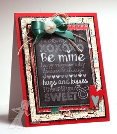 Graphic Greetings, Chalkboard Technique, Valentine Card by Jen Shults #ValentinesLove
