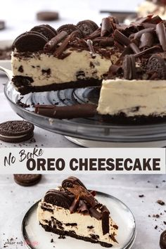 This No Bake Oreo Cheesecake is seriously the best cookies and cream cheesecake ever. It's quick to make, creamy and luscious and this easy oreo dessert is perfect for a crowd. for a crowd No Bake Oreo Cheesecake desserts, Baked Oreo Cheesecake Recipe, Cookies And Cream Cheesecake, Cheesecake Desserts, No Bake Desserts, Easy Desserts, Tailgate Desserts, No Bake Cheescake, Tasty Dessert Recipes, Recipes For Desserts
