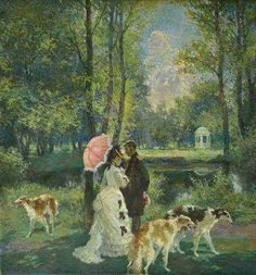 Painting with borzoi dogs.
