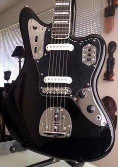 YorMajesty's Black 66 Reissued Fender Jaguar Guitar, Black Jaguar Neck, 1966 Ebony Fret board W/Block Inlay & Binding  (Black Matching HeadStock)