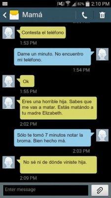 Una chica le hizo bromas pesadas a su mamá por sms y se viralizó