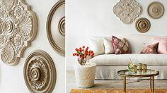 Ceiling medallions as wall decor - I love this idea!
