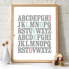 8x10 ABC Print. I love you. Alphabet Love. Typography Print. Mint and Coral - 115