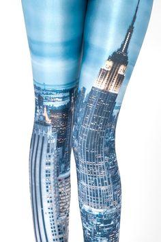 New York Skies Print Skinny Leggings