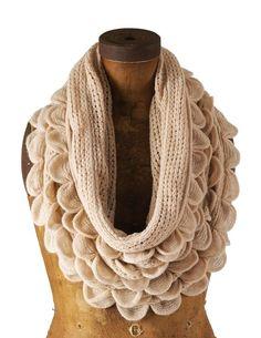 Oatmeal Cream Oversized Ruffle Knitted Infinity Loop Scarf