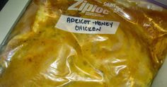This is a great freezer meal. The whole family loved it! Apricot-Honey Chicken Ingredients 4 chicken breasts 2/3 cup honey mustard 1/3 c...