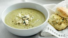 Broccoli, zucchini, blue cheese soup with sage scones