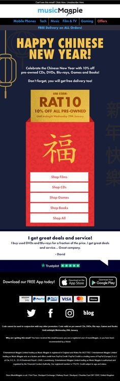 Chinese new year email with coupon discount code from Music Magpie Music Magpie, Cash Today, Sell Your Stuff, Happy Chinese New Year, Music Film, Email Marketing, Don't Forget, Coupon, Coding