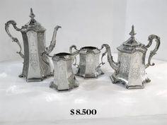 Joseph, Gothic, Silver Tea Set, Architectural Elements, Decorative Objects, Antique Silver, Victorian, Sterling Silver, Antiques