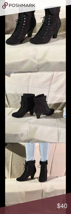 Black lace up boots Lace up black boot perfect to dress up jeans or just about any other occasion. Ankle flap can be turned up or worn down. Brand new in box -never been worn. UK Style by French Connection. Originally $69.99 from Sears. French Connection Shoes Lace Up Boots
