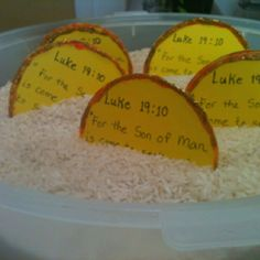 """Review Game """"Digging For God's Word"""" Let children take turns digging in a large container of rice to find treasure (coins) with the verse written on them.  Have them read the verse as each coin is found.  Kid's love to play this."""