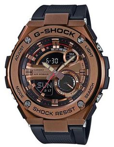 64dc6827599 Casio Mens G-Shock G-Steel Watch - Ana-Digi - Copper-Tone - Black Strap