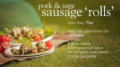 Slimming World Syn Free pork and sage sausage 'rolls' - FREE Slimming World Syns, Slimming World Recipes, Pork Recipes, Cooking Recipes, Healthy Recipes, Snack Recipes, Bacon Stuffed Mushrooms, Bacon Mushroom, Homemade Sausage Rolls