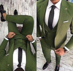 2018 Latest Coat Pant Designs Green Men Suit Slim Fit 3 Piece Tuxedo Groom Style Suits