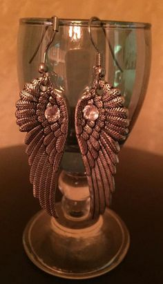 Angel Wings with Swarovski Diamond by CricketBArtsy on Etsy