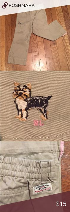 Ralph Lauren Classic Chinos Khaki Chino pants. Small dog embroidery in fri t pocket. No back pockets. Small slit on brim of each leg. Ralph Lauren Bottoms Casual
